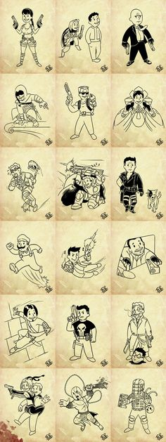 Several different iconic video game characters in Fallout's retro style.