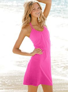 One hot little sundress: the Braided Strap Bra Top Dress from Victoria's Secret. With the lightest layer of support built right in and braided double halter straps, this bra top dress gets noticed at the beach, on the boardwalk and beyond. Simply sexy in an always-chic a-line silhouette.