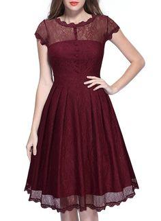 Miusol Women's Retro Floral Lace Cap Sleeve Vintage Swing Bridesmaid Dress (X-Large, Wine Red)