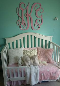 My little Princess' toddler bed - pink blue ivory gold girls room - toddler bed with pillows - monogram above bed