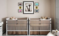 Twin nursery with taupe bedding and giraffe wall art and pops of gender-specific color