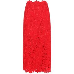 Valentino Lace Skirt (21.520 DKK) ❤ liked on Polyvore featuring skirts, red, valentino, knee-length, red knee length skirt, lace skirt, embroidered skirt, red lace skirt and knee length skirts