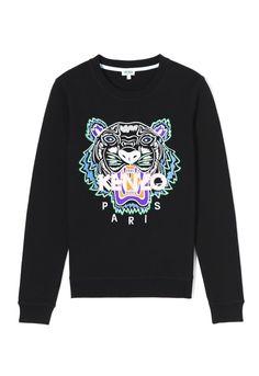 brand new 54cf7 98edb BLACK Embroidered Tiger sweatshirt for women KENZO