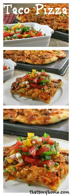 Fresh pizza dough, ground taco beef, mozzarella and cheddar cheese, nacho chips, baked and topped with a delicious fresh salsa. Make a taco pizza tonight. Taco Pizza Recipes, Beef Recipes, Cooking Recipes, I Love Food, Good Food, Yummy Food, Beef Dishes, Food Dishes, Mexican Dishes