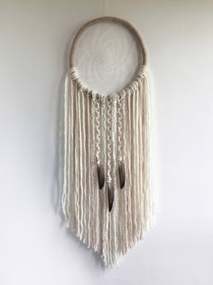 Sandstone Dream Catcher, XL Cream White DreamCatcher, Wall Hanging, Boho Decor, Willow, Wool Art, Boho Wedding Decor by owlsroadstudio on Etsy https://www.etsy.com/uk/listing/516987760/sandstone-dream-catcher-xl-cream-white