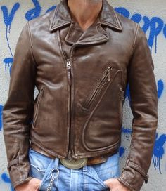 This leather is tanned and finished with the same techniques that were made in the early century. The skins are natural cow and it's vegetable tanned. After the vegetable tanning process, the. Men's Leather Jacket, Vintage Leather Jacket, Biker Leather, Leather Jackets, Motorcycle Outfit, Motorcycle Jackets, Dapper Suits, Cool Jackets, Biker Style