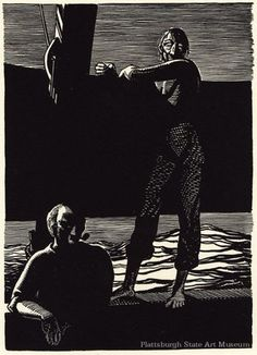 Illustration from Moby Dick by Rockwell Kent, pen and ink drawing.