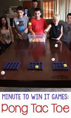 Minute to Win It Games - Pong Tac Toe: could be done with egg cartons?