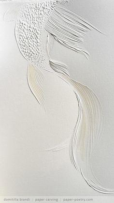 detail of «Kingyo n.3» from the Japanese Art Series - September 2016 | domitilla biondi paper carving | paper-poetry.com _______ #papercarving #papercut #paperwork #paperpoetry #minimal #basrelief #miniature #white #shadowart #italianartist #japaneseart #harmonia #beauty #spirituality #paperporn #color #light #kingyo #siamesefish