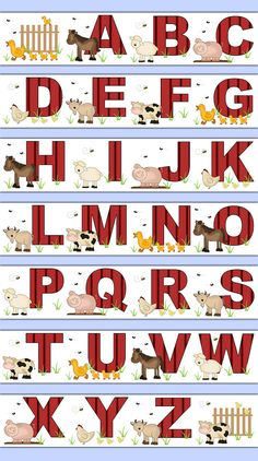 FARM NURSERY DECOR Alphabet Wallpaper Border Decal Barnyard Animal Abc Wall Art Stickers Baby Girl Boy Letter Kids Room Decor Childrens Bedroom #decampstudios