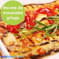 Moussaka, una receta de lasaña griega irresistible. http://www.guiainfantil.com/recetas/verduras/asadas-a-la-plancha-y-salteadas/moussaka-o-lasana-de-berenjenas-receta-facil-para-ninos/