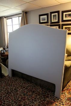DIY Drop Cloth/Nailhead Trim Upholstered Headboard Tutorial DIY (similar to Pottery Barn Raleigh Upholstered Camelback Headboard with Nailhead Trim but could be used as general tutorial)