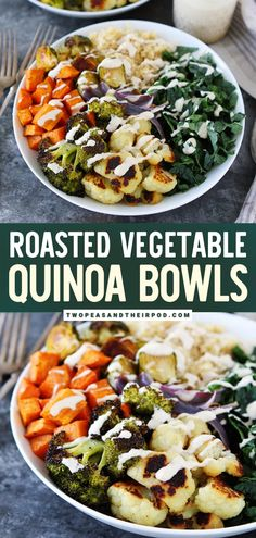 Greens are always a good idea when it comes to healthy eating! This Roasted Vegetable Quinoa Bowl is easy to make healthy dinner recipe for family. Add a drizzle of lemon tahini dressing and your taste buds will have a frenzy. Pin this easy healthy recipe! Vegetable Quinoa, Vegetable Recipes, Vegetarian Recipes, Healthy Vegetables, Roasted Vegetables, Healthy Zucchini, Keto, Can Cooker, Weight Loss Meals