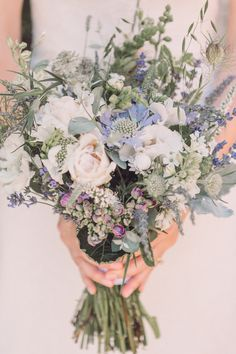 Bride Bridal Bouquet Wildflower Rose Cornflower Foliage Relaxed Outdoor Marquee Farm Wedding http://www.jenniferjanephotography.co.uk/