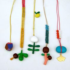 wood necklace.