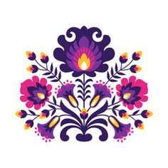 Polish Folk Flowers - Buy this stock vector and explore similar vectors at Adobe Stock Hungarian Embroidery, Folk Embroidery, Polish Embroidery, Folk Art Flowers, Flower Art, Tole Painting, Fabric Painting, Painting Tips, Watercolor Painting