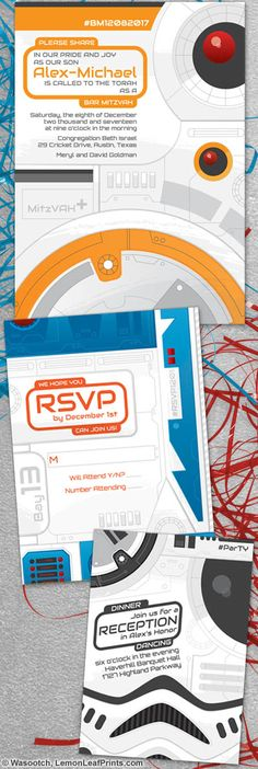 Star Wars Bar Mitzvah invitation set. The invitation design looks similar to BB-8, the reception card resembles a Stormtrooper and the RSVP card is a bit like R2-D2. This set is perfect also for a sci-fi movie themed Bar Mitzvah. It looks like high-tech robot, drone, or panels from spaceships.