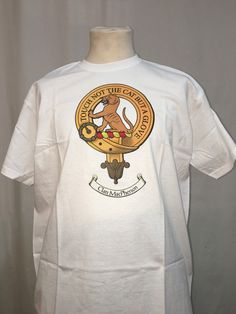 Large white cotton t shirt with crest of clan MacPherson