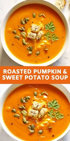 May 2020 - This Pumpkin and Sweet Potato Soup is easy, comforting and full of flavour. Pumpkin, sweet potato, carrot and onion are roasted in the oven, then pureed to produce a smooth and creamy soup. Perfect for warming the whole family through winter. Pumpkin Sweet Potato Soup, Roast Pumpkin Soup, Sweet Potato Recipes, Sweet Soup, Sweet Pumpkin Soup Recipe, Sweet Potato Soup Healthy, Slow Cooker Pumpkin Soup, Creamy Pumpkin Soup, Chicken Soup Recipes