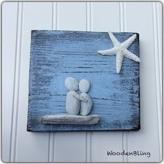 Engagement-Geschenk Pebble Kunst nautische von WoodenBLING auf Etsy
