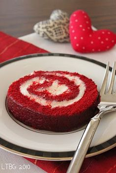 Red Velvet Cake Roll--the perfect ending to a special Valentine's Day dinner.