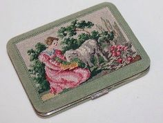 Vintage-Petit-Point-Compact-Made-In-Austria-Beautiful