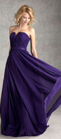 Notched Natural Waist Long Chiffon A-line Bridesmaid Dress