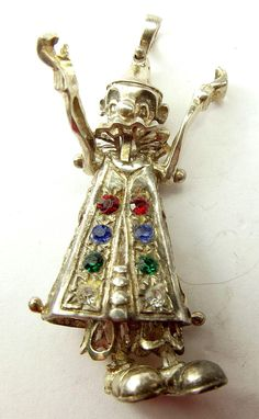 Large Vintage Silver Gem Set CLOWN Charm Pendant ARTICULATED