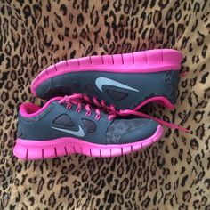 Nike Free 5.0 h2o repel cheetah pink shoes Only worn a couple of times so perfect condition! They are kids size 7 which fits just like a women's size 8 which is what I wear! They are water repellent as well! Nike Shoes Athletic Shoes