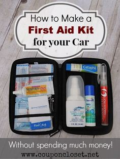 How to make a first aid kit for your car without spending much money. This is perfect for when you are at the park, at your kids sporting events and even camping! http://www.couponcloset.net/how-to-make-a-first-aid-kit-for-your-car/