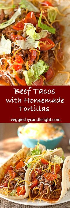 Beef Tacos with Homemade Tortillas - A recipe for good old fashioned taco meat, versatile enough for your choice of toppings. A great go-to for weeknights. Chili Recipes, Lunch Recipes, Mexican Food Recipes, Cooking Recipes, Healthy Recipes, Pork Recipes, Delicious Recipes, Homemade Tortillas, Mouth Watering Food