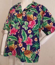 480f0cf774 L-Shannon-Marie-Vtg-Blue-Green-Floral-Pineapple-Hibiscus-Tiki-Hawaiian-Shirt