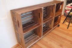 DIY wood crate storage - Hammers and High Heels: DIY Vintage Crate Shelving Unit and Wooden Shipping Crates, Old Wooden Crates, Wooden Diy, Vintage Crates, Wooden Crate Shelves, Diy Storage Crate, Storage Ideas, Shoe Storage, Dvd Storage