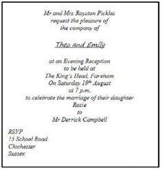 Wedding Invitation Etiquette Wording Your Invitation Examples
