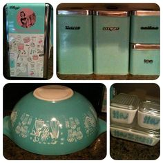 Kellogg's Happy Hostess Repro Napkin Holder, Vintage Storage Containers, Pyrex Nesting Bowl & Pyrex Refrigerator Set.
