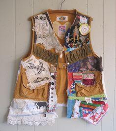 MyBonny hunt & gather  FABRIC COLLAGE  VEST  -- Primitive Boho Native - Wearable Folk Art Altered Textile -- Recycled Materials