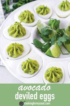 Avocado Deviled Eggs! This easy and healthy avocado deviled eggs recipe is perfect for spring. It is so easy to make and comes out so delicious. It's the perfect finger food! #cookingformysoul Avocado Deviled Eggs, Deviled Eggs Recipe, Ripe Avocado, Easter Recipes, Egg Recipes, Runny Eggs, Quiche Recipes, How To Cook Eggs, Boiled Eggs
