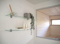 Kuistin kautta: TALOKIERROS: Kylpyhuone Bathroom Medicine Cabinet, Shower, Interior Design, Keto, Blog, Rain Shower Heads, Nest Design, Home Interior Design, Interior Designing