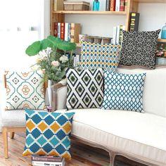 Estilo nórdico Listrado Xadrez geometria Almofada sem interior Home Decor Assento Da Cadeira Do Sofá Decorativa Throw Pillow Almofada cojines