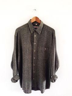 8dea04a128d Vtg green herringbone flannel shirt   L   1990s grunge workwear chore RARE  skate