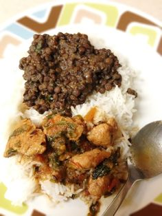 Kali Daal Chawal with Chicken Salan. Brown Lentil and Chicken Curry easy indian pakistani food recipe