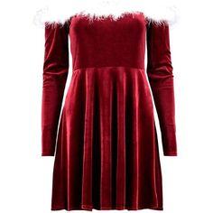Crissy Christmas Velvet Santa Dress (280 SEK) ❤ liked on Polyvore featuring dresses, red dress, red velvet dresses, red christmas dress, velvet dress and christmas day dress