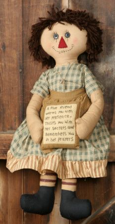 """Primitive True Friend Rag Doll - This auction is for Primitive """"True Friend"""" Doll. She is 22""""H and is wearing a dress made of mustard and green homespun."""