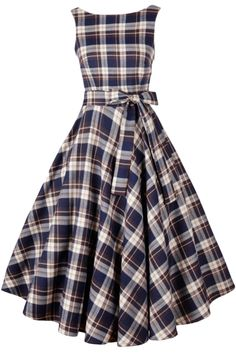 Vintage Tartan Print V Back Midi Dress - OASAP.com