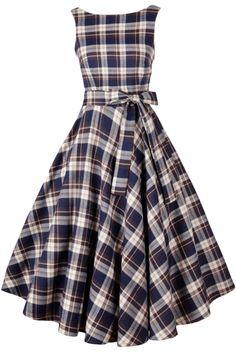 Vintage Tartan Print V Back Midi Dress - OASAP.com