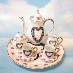 Heart Rose Miniature Tea Set