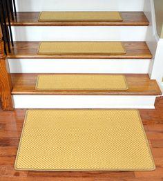 Dean Modern DIY Bullnose Wraparound Non Skid Carpet Stair Treads   Caramel  Scroll Border : Non Skid Modern Bullnose Wraparound Stair Treads By Deanu2026