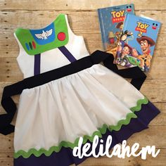 No longer accepting Halloween orders Buzz Lightyear Toy Story inspired Dress outfit 6 7 Toy Story Party, Toy Story Birthday, Fantasia Disney, Disney Costumes, Disney Outfits, Dress Up Aprons, Buzz Lightyear Costume, Toddler Halloween Costumes, Halloween Sewing