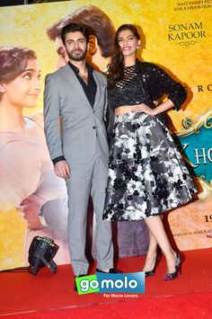 282009163d4 Fawad Afzal Khan and Sonam Kapoor strike a pose for the cameras as they  arrive for the music launch of Bollywood movie Khoobsurat