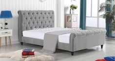 Thick Headboard Button Tufted Sleigh Fabric Bed - Buy Fabric Bed,Sleigh Fabric Bed,Headboard Product on Alibaba.com